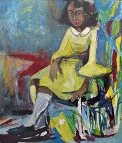 Bernard Harmon, Girl in a Yellow Dress, Oil on Board, 1968