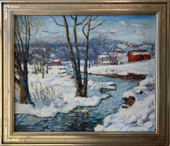 Walter Baum, Pennsylvania Winter, Oil on Canvas, 1940's