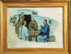 """Henry Soulen, """"Mahyong"""", Oil on Board, 1923"""