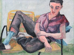 Bernard Harmon, Young Man, Oil on Canvas, 1955, Signed Lower Right