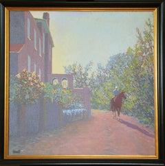 Peter Howell, Single Horse Walking by House, Oil on Canvas