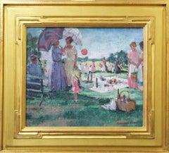 Paulette Van Roekens, The Picnic, Oil on Canvas, 1930's