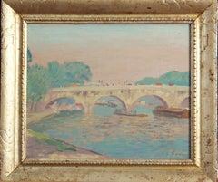 Rae Sloan Bredin, Bridge Scene, Oil on Board, ca. 1914
