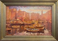 """Joseph Crilley, """"Harbor Camogli"""", Oil on Panel, 1992"""