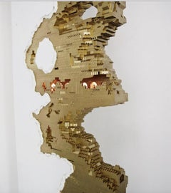 Dante Dentoni, Gold wall, 2016, Drywall and Lego