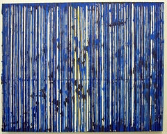 Untitled Big Stripes, 2005, mixed media on canvas, by Ann Chisholm. Blue.