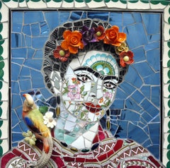 Frida Kahlo No.1, Recycled ceramic mosaic by English Artist Susan Elliott