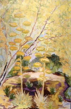 Contemporary Oil Landscape Yellow and Green Agave Desert - Landscape Painting