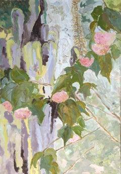 Pink Donbeya & Cactus  Contemporary Nature Mediterranean Landscape Oil : Violet