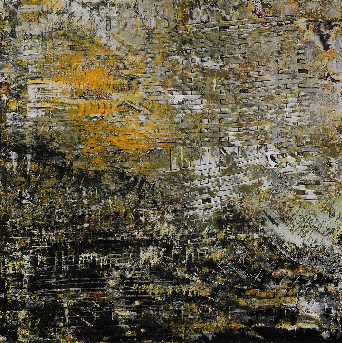 American School Abstract Painting in yellows, grays and white