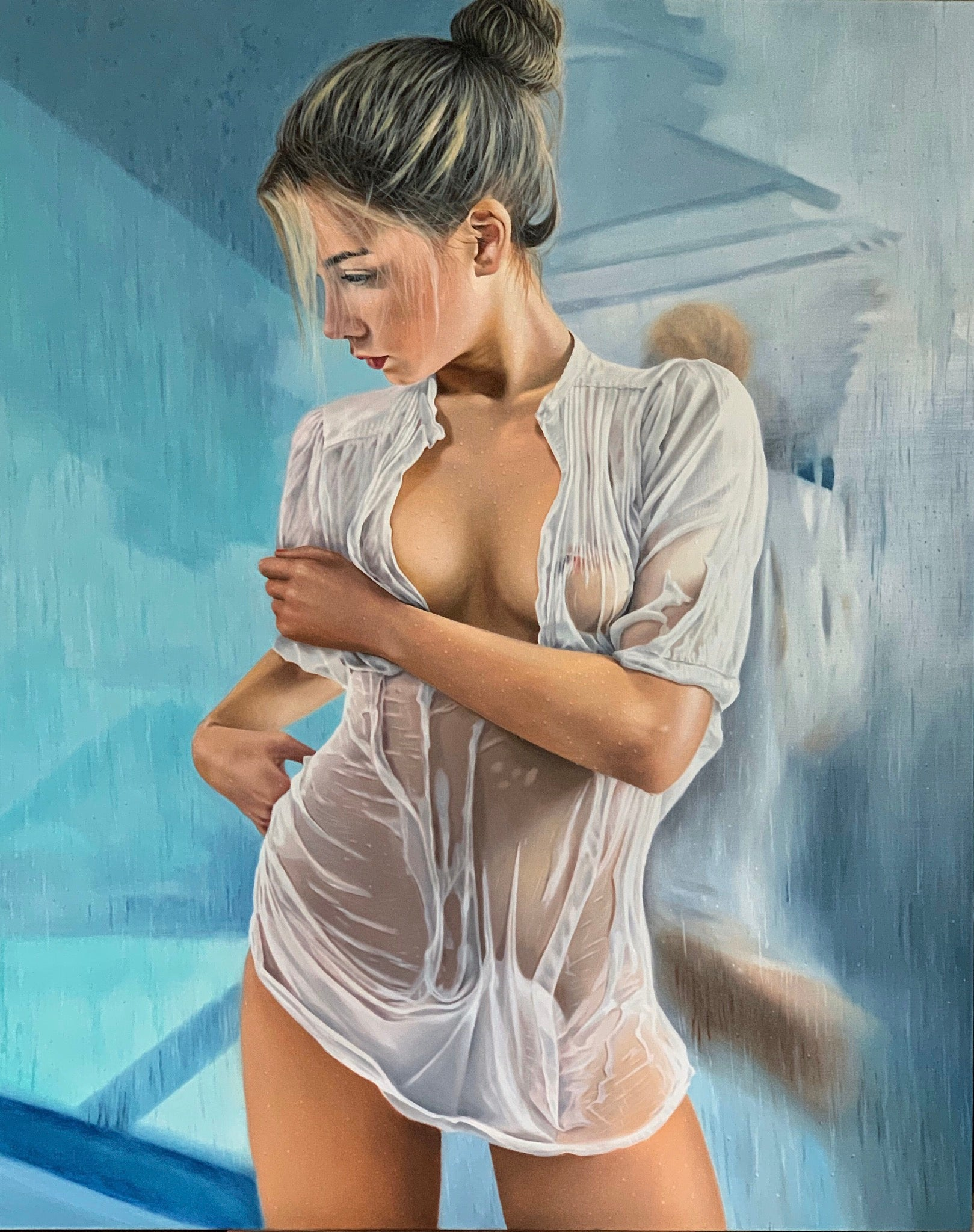 """Mirror"" Oil on canvas 59x47 inch by Dmitriy Krestniy"