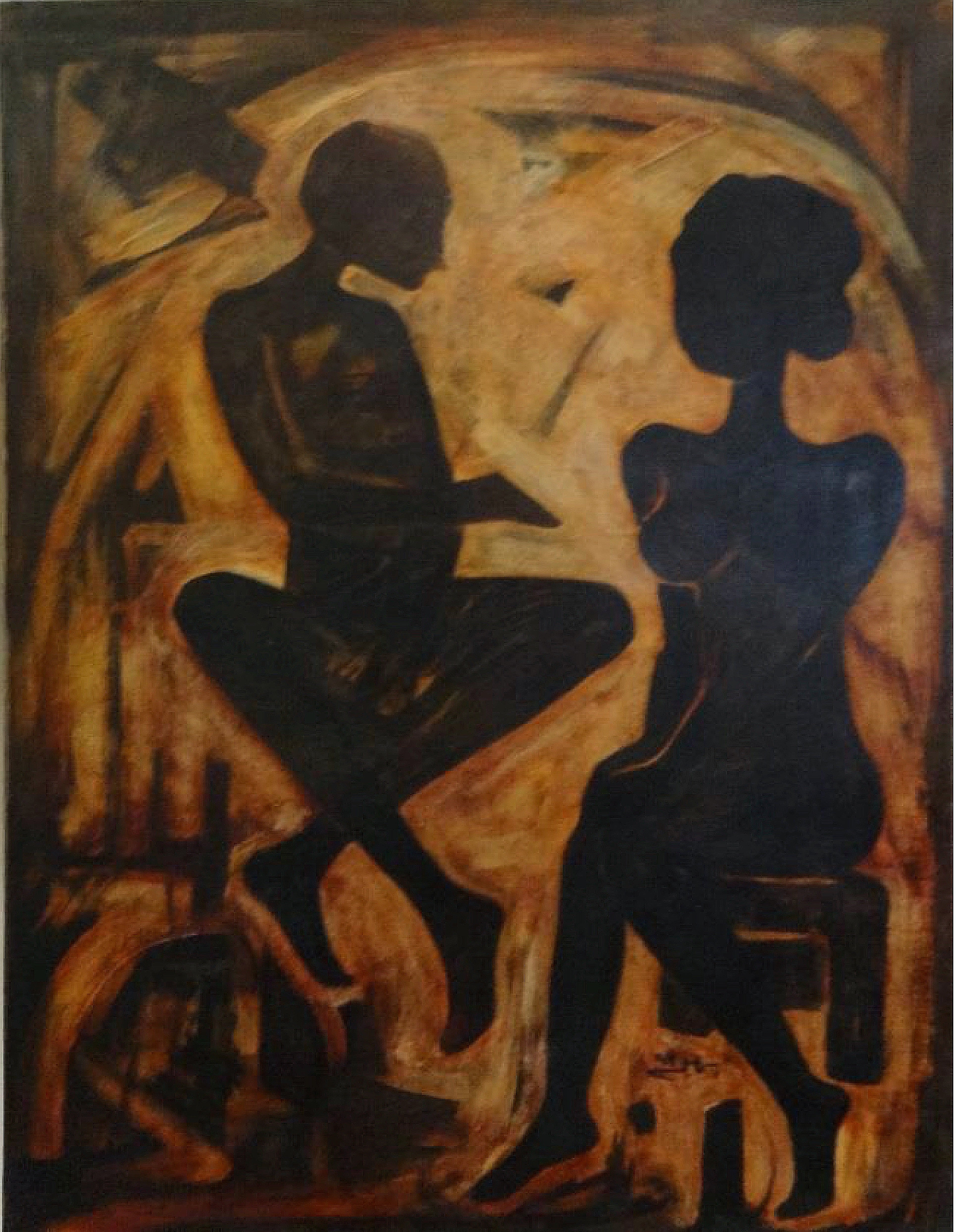 """""""Couple I"""" Oil on Wood Painting 31"""" x 24"""" inch by Mohammed Ismail"""