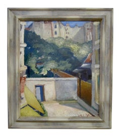 1920s Modernist oil painting of a Paris street scene by Lucien Labaudt