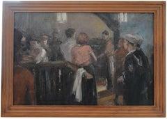 Two American Sailors in Montparnasse, Oil on Panel, France, Late 1940s