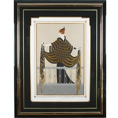 """Erté Serigraph """"The Balcony"""" on Paper 69/300 Signed, Numbered, Framed 1989"""