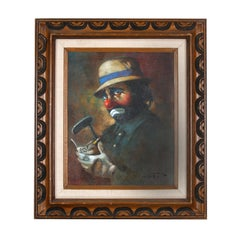 """Chuck Oberstein Signed Framed Oil on Canvas """"Clown Holding Golf Score Card"""""""
