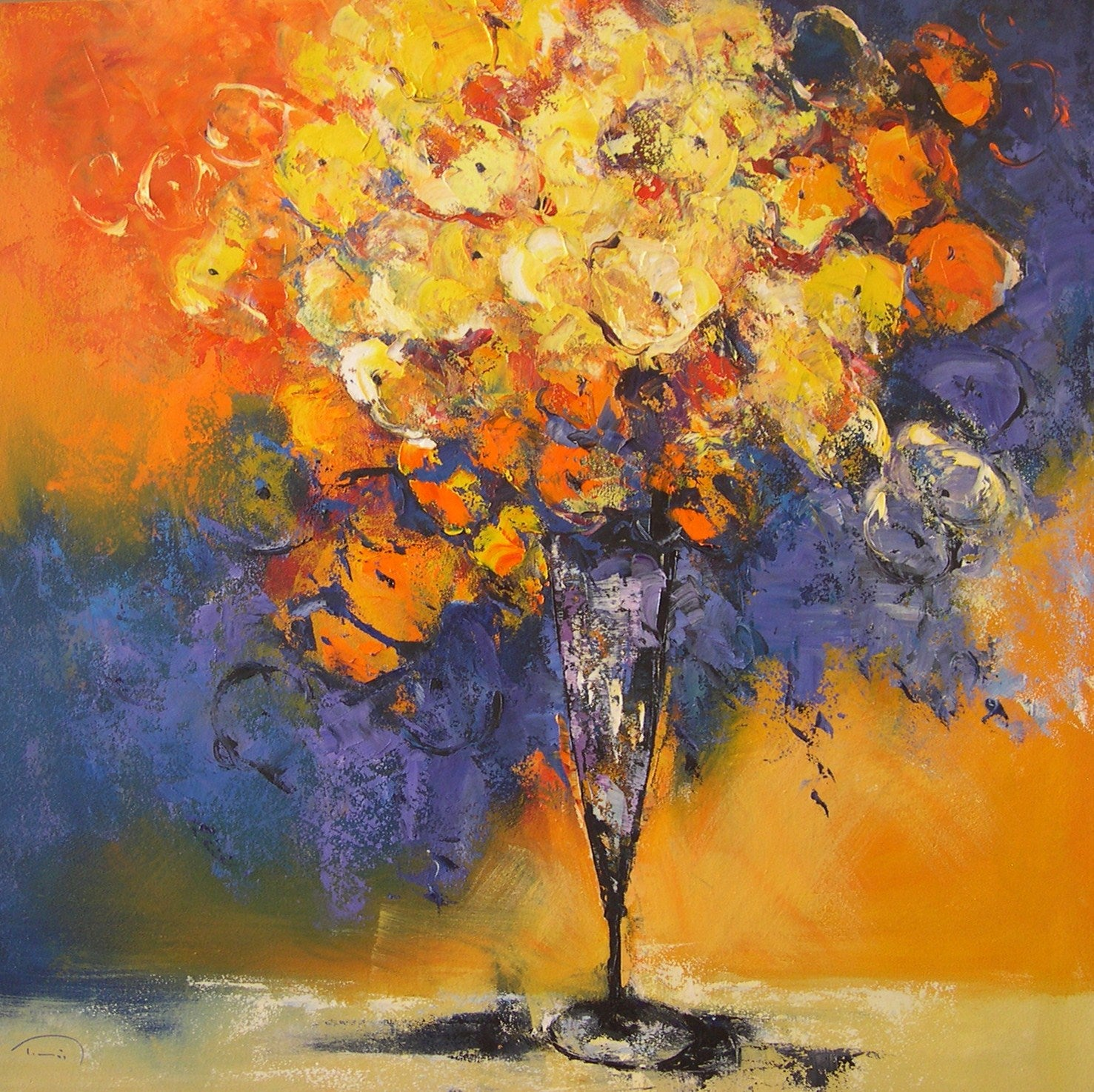 Esquitxos - 21st Century, Contemporary, Still Life Oil Painting, Canvas, Flowers