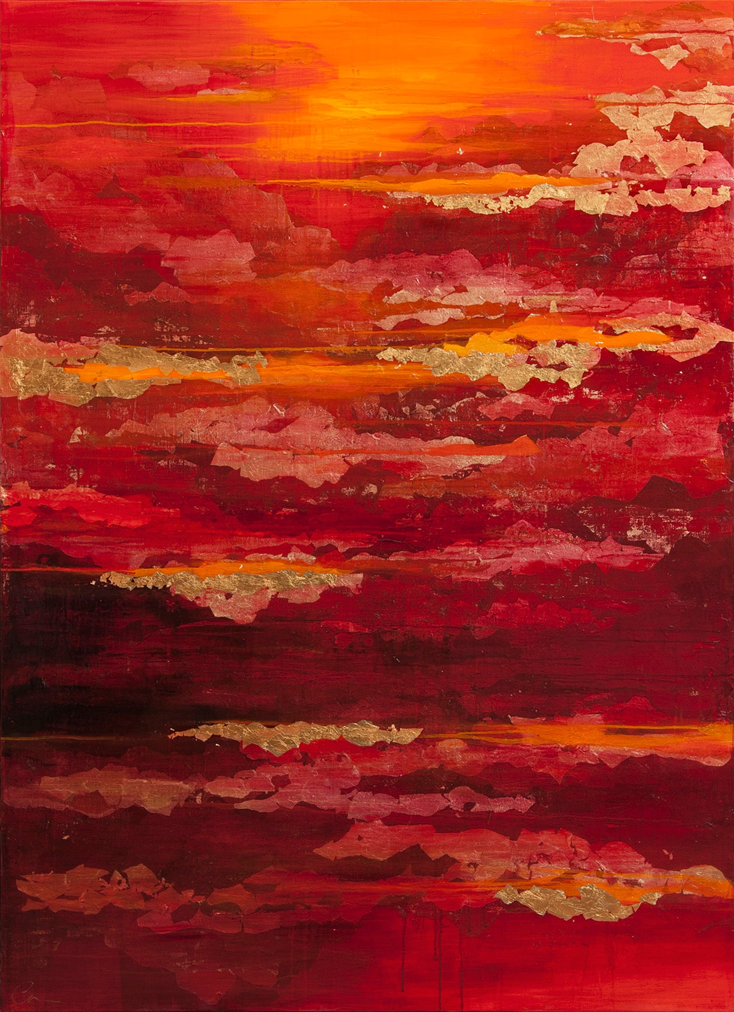 Fading Light - 21st Century, Contemporary, Abstract Painting, Gold Leaf