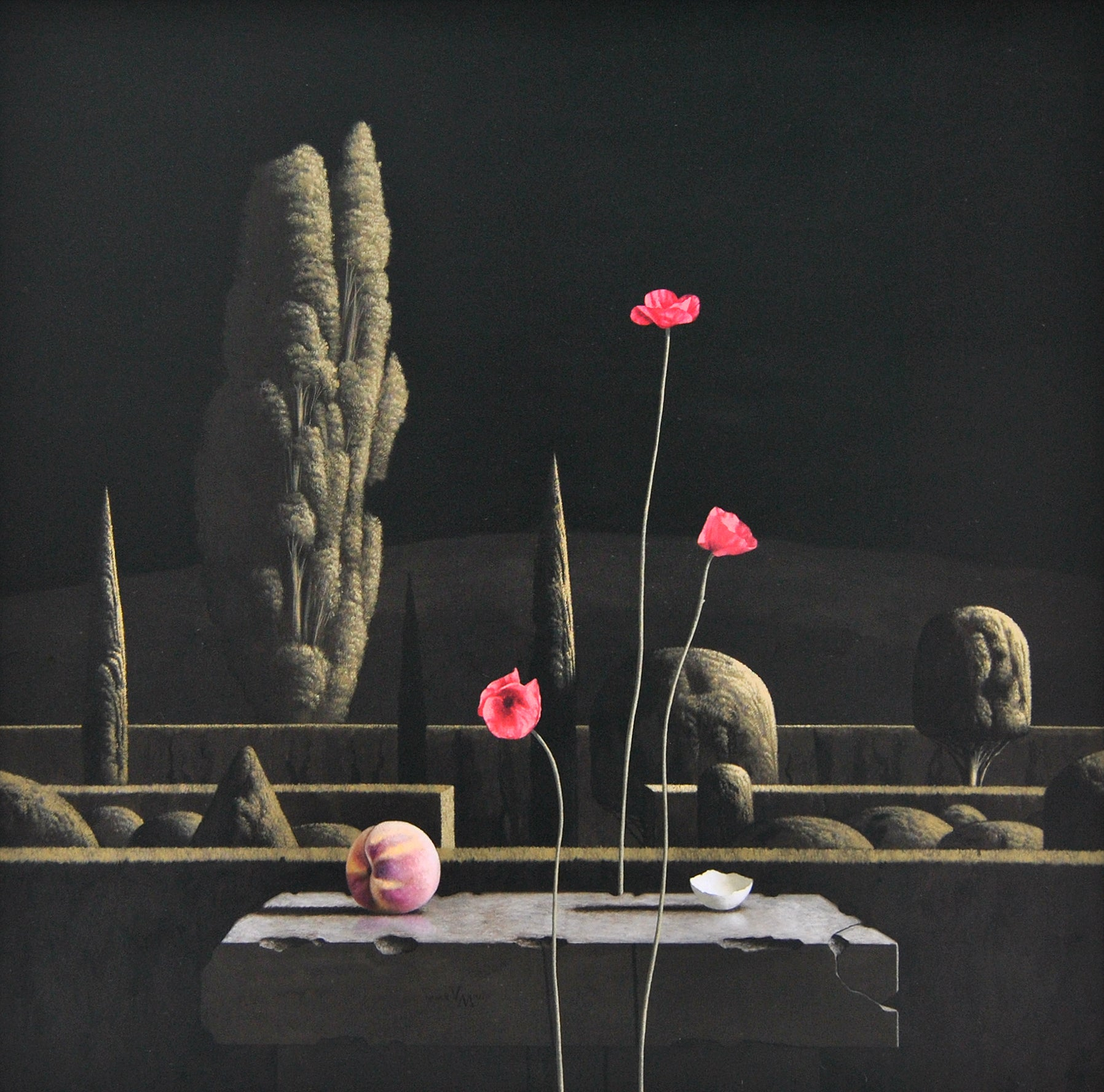 Nocturne- 21st Century Contemporary Still-life in a  Landscape painting