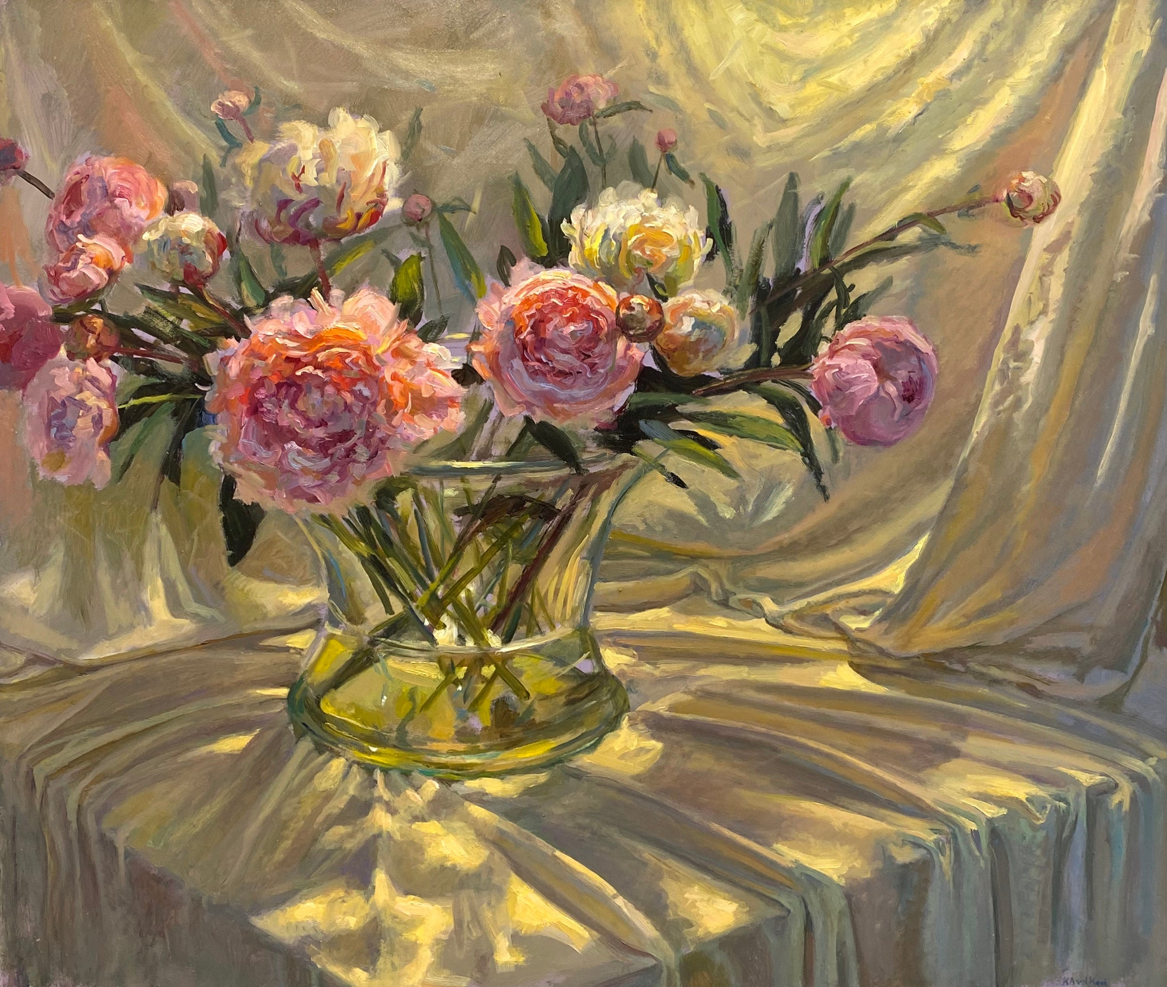Peonies - 21st Century Colorful Impressionistic oil painting with flowers