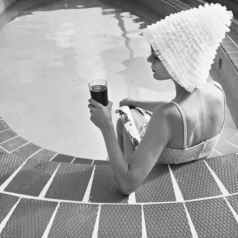 Silvia Lareo-Vazquez Black and White Photograph - Surf Club, Miami 1989