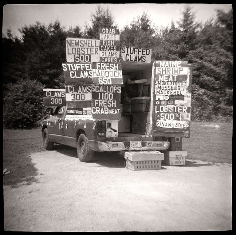 Gordon Stettinius Black and White Photograph - Seafood Truck, US Route 1, ME