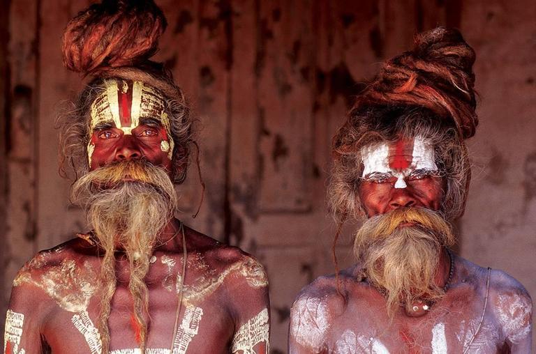 Thomas Kelly Color Photograph - Sadhu Brothers, Pashupatinath, Kathmandu, Nepal