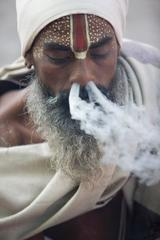 Smoking Sadu, Pashupatinath, Kathmandu, Nepal