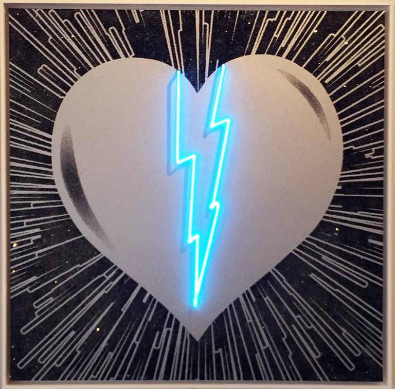 <i>Broken Heart – Silver on Black – Blue Neon</i>, 2017, by Rubem Robierb