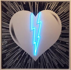 Broken Heart - Silver on Black - Blue Neon