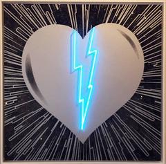 Broken Heart - Silver on Black - Blue Neon