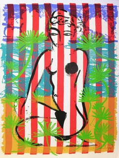 Nude on Red Stripes