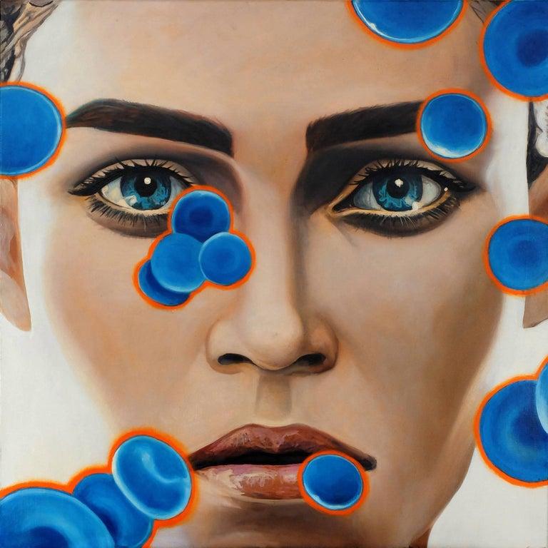 Manzur Kargar Portrait Painting - Blue Blood Cells 5