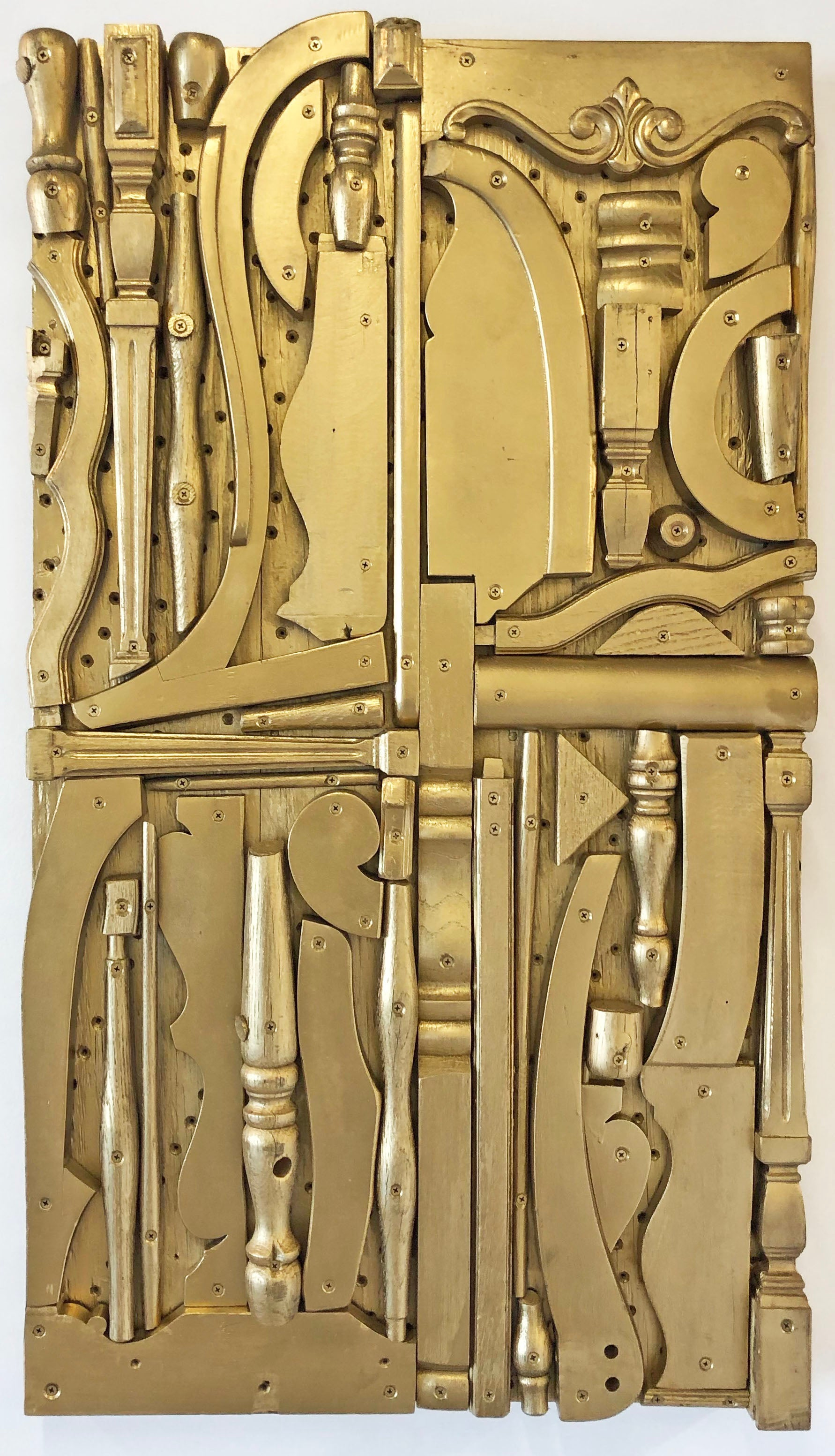 Untitled (Gold),  abstract, sculpture, flat wall piece, golden, short, geometric