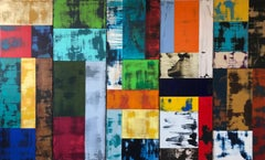 Multiple canvases, colorful, representational, abstract