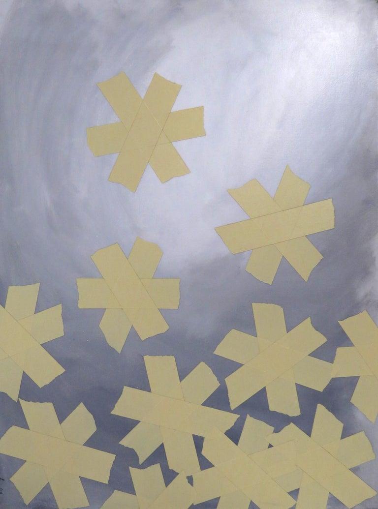 Asterisks, tape, monochromatic, paint, canvas, small - Mixed Media Art by Matthew Heller