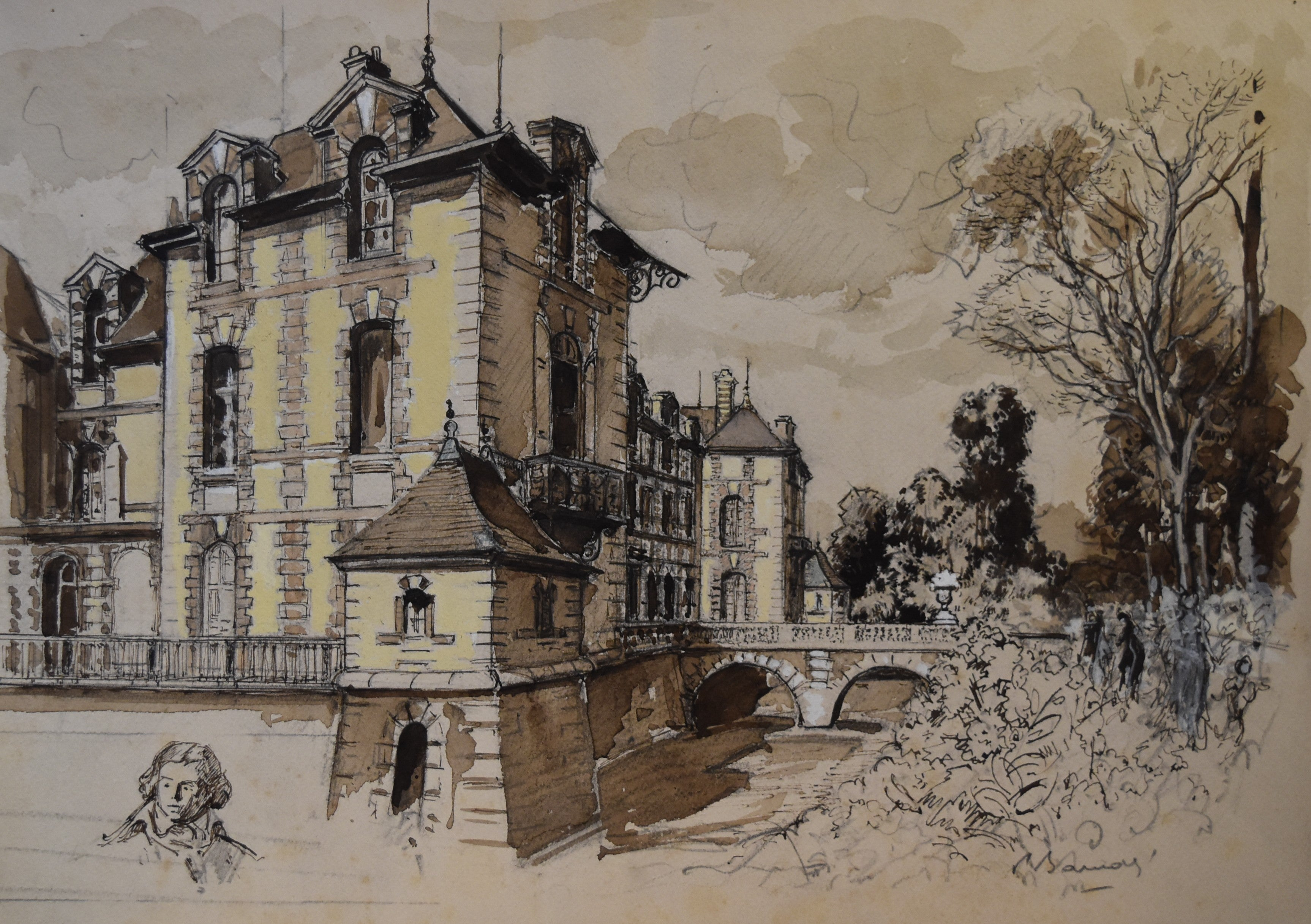 France early 20th centuryView of the Grosbois castle and head study, watercolor