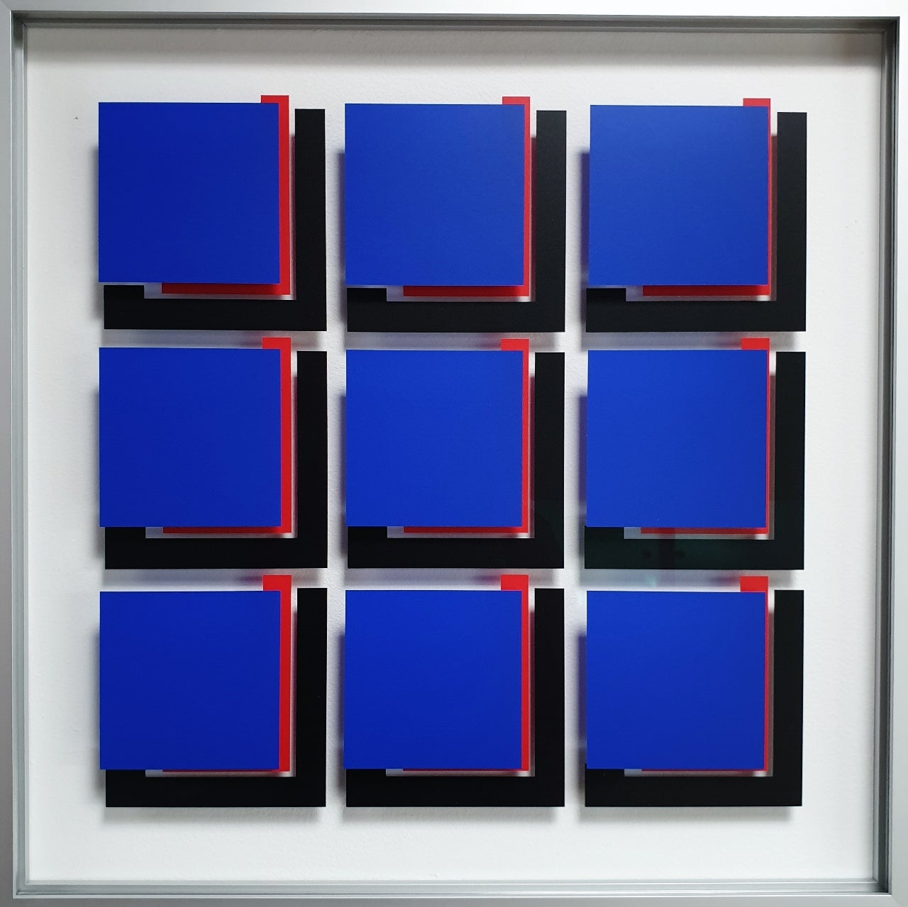 MG803 - contemporary modern abstract geometric film on glass painting relief