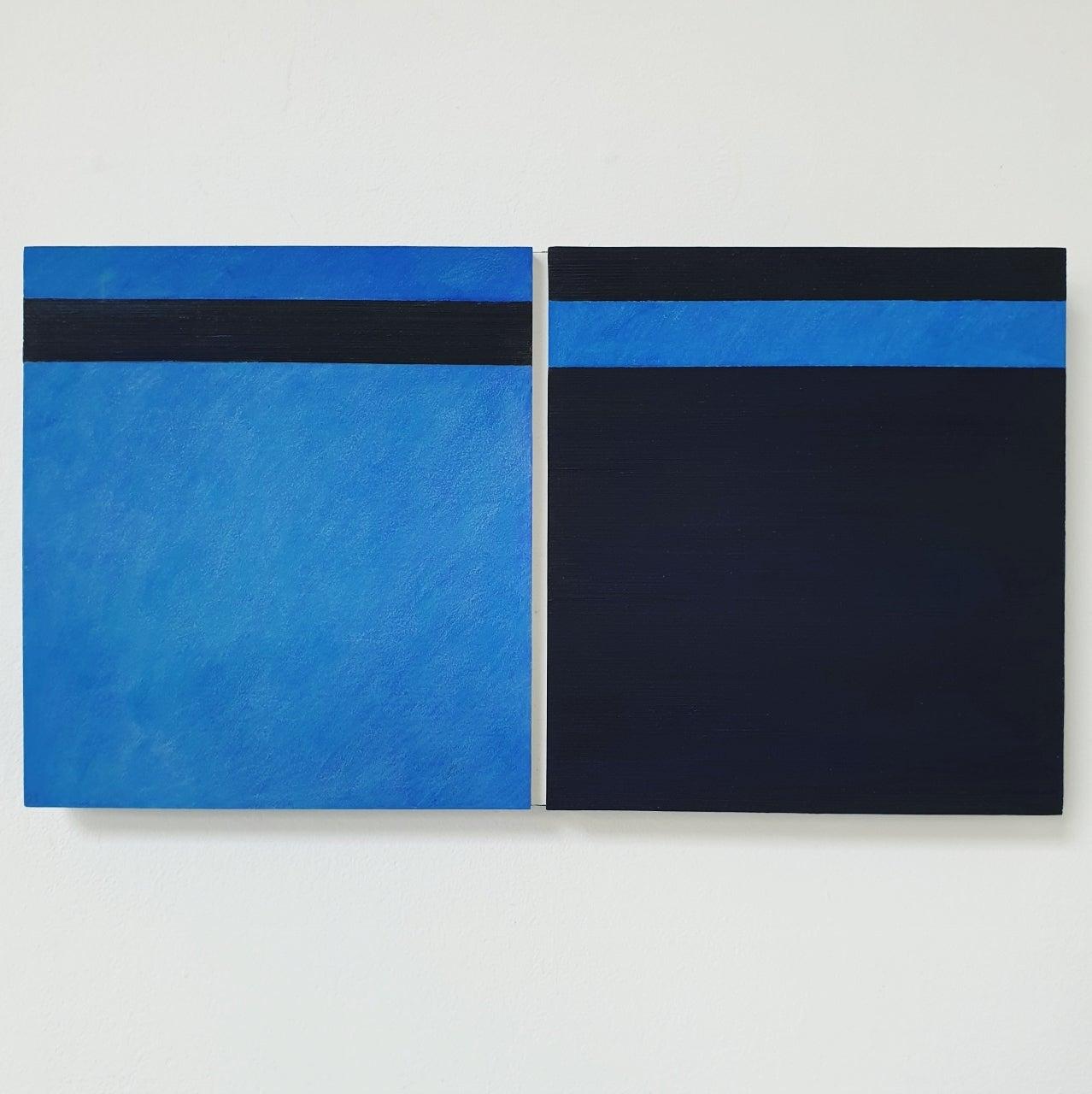 Juxtaposition II - contemporary modern geometric sculpture painting panel