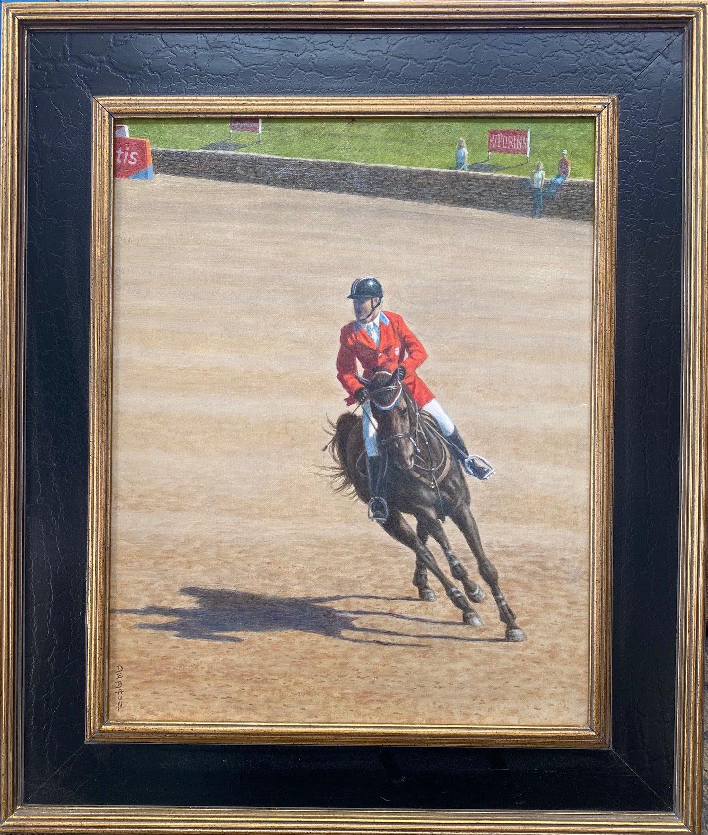 Cornering the Course, original realistic equestrian landscape