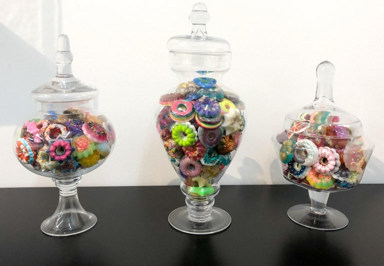 Donut Jar - Handmade Mini Resin Donuts in Glass Candy Jar / colorful  For Sale 5