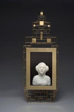 Buste de femme renaissance dans son cadre doré
