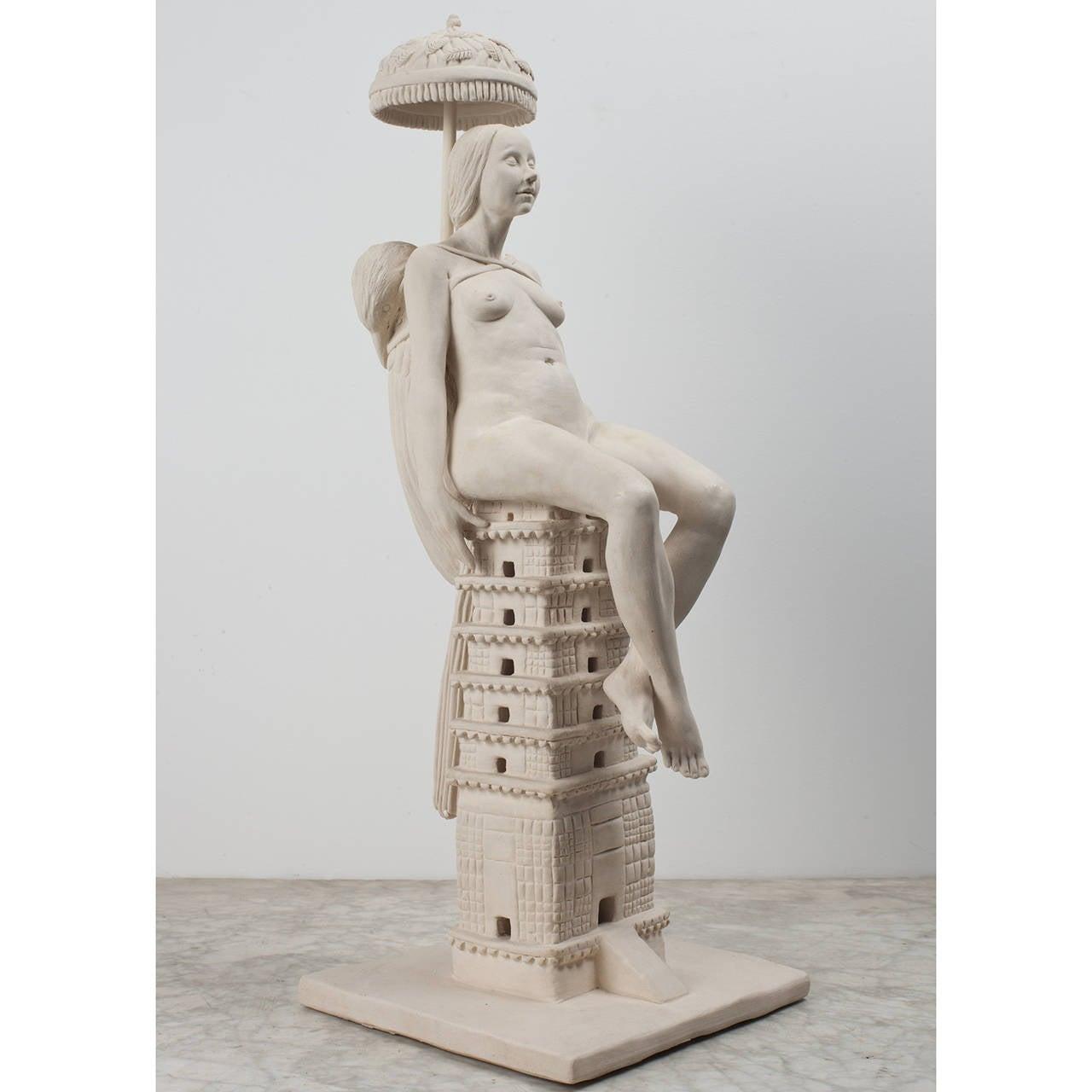 Tricia Cline Figurative Sculpture - She Bird Temple