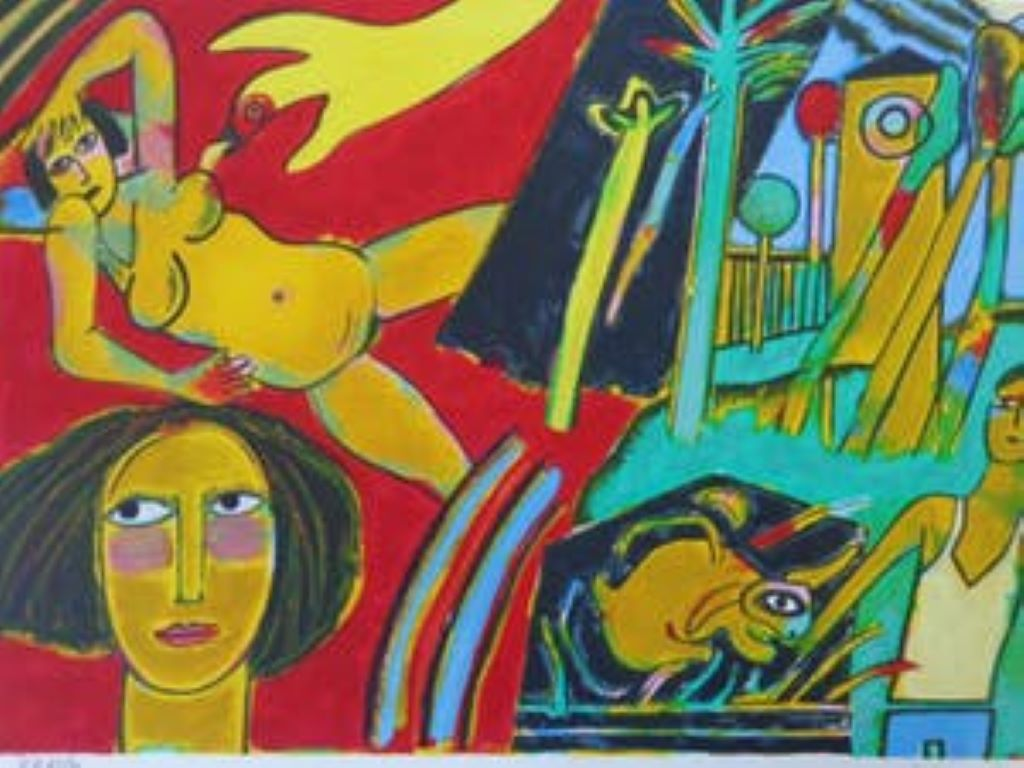 Gele naakte vrouw - Cobra, 20th Century, Lithograph, Figurative Print, EA