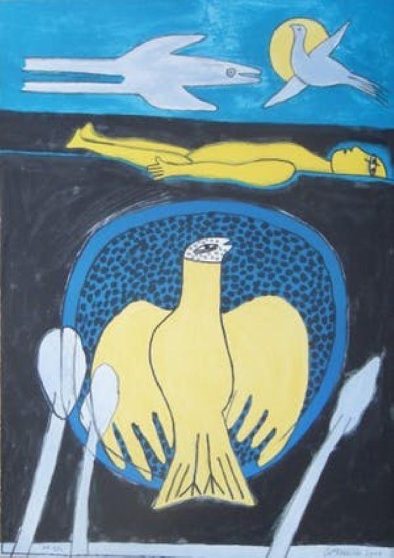 Vrouw met duif - Cobra, 20th century, Lithograph, Figurative Print, EA