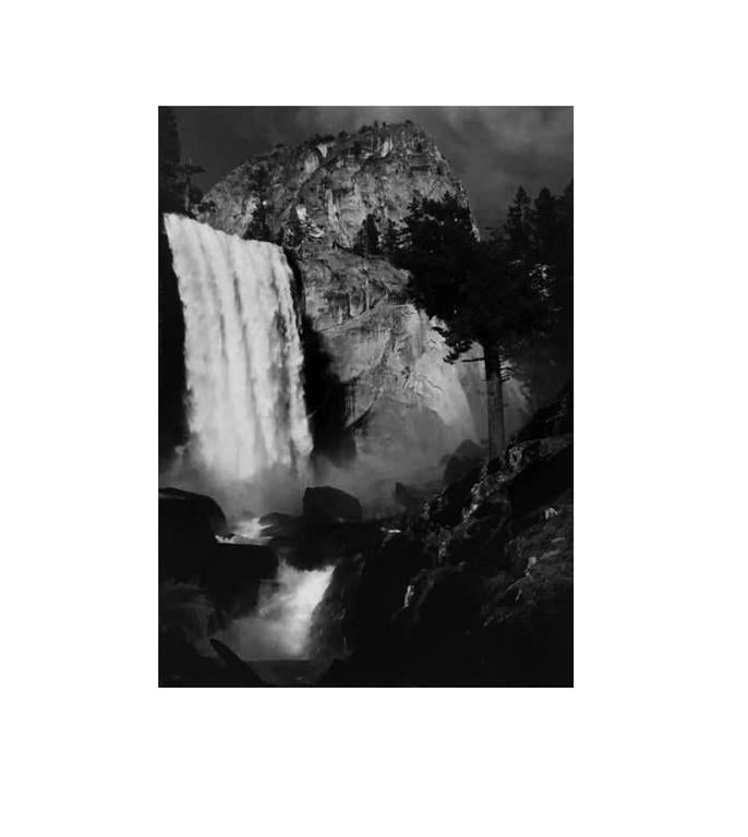 Ansel Adams Black and White Photograph - Vernal Fall