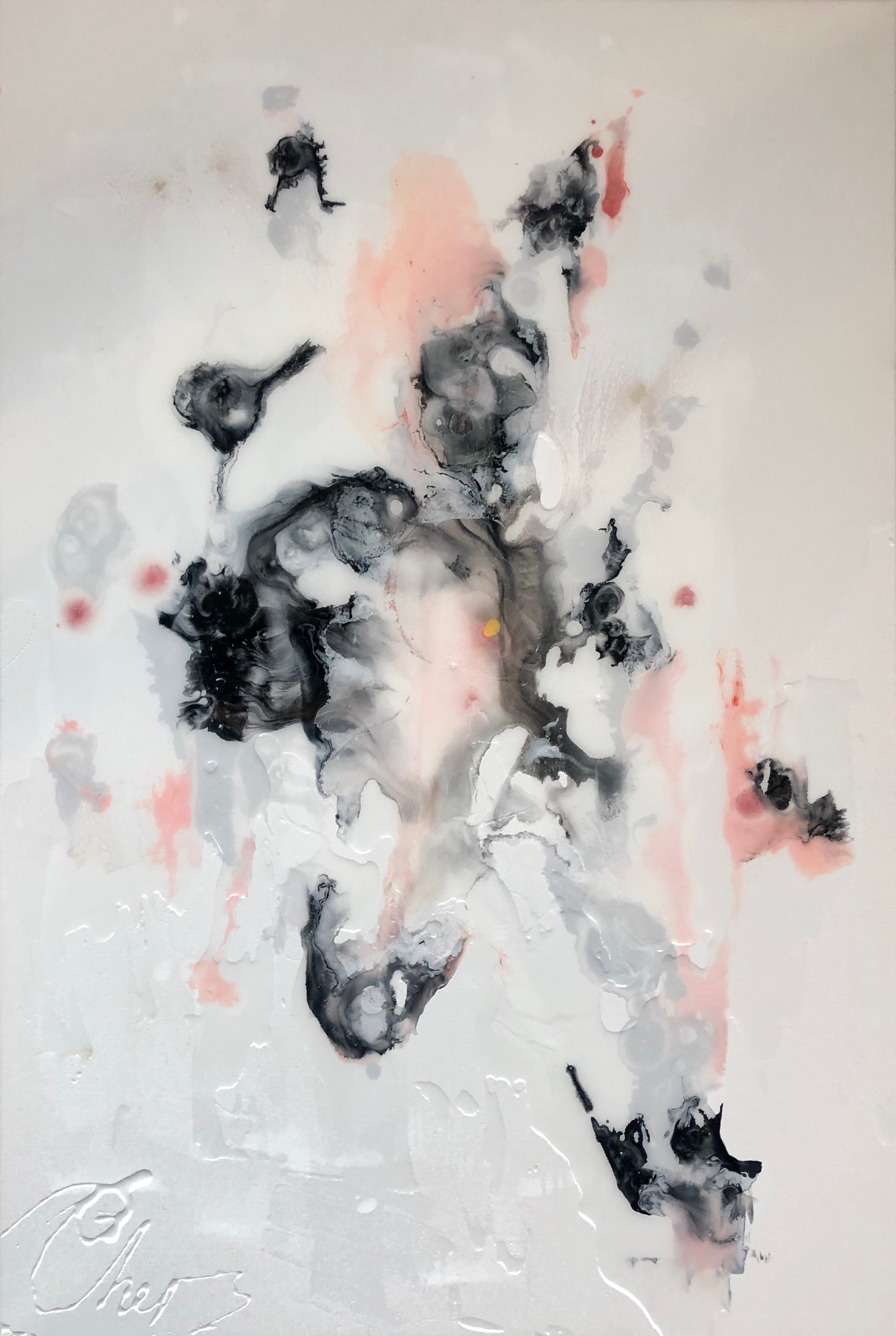 Accidental Beauty-abstract painting in pale pink, black, grey, white, rose color
