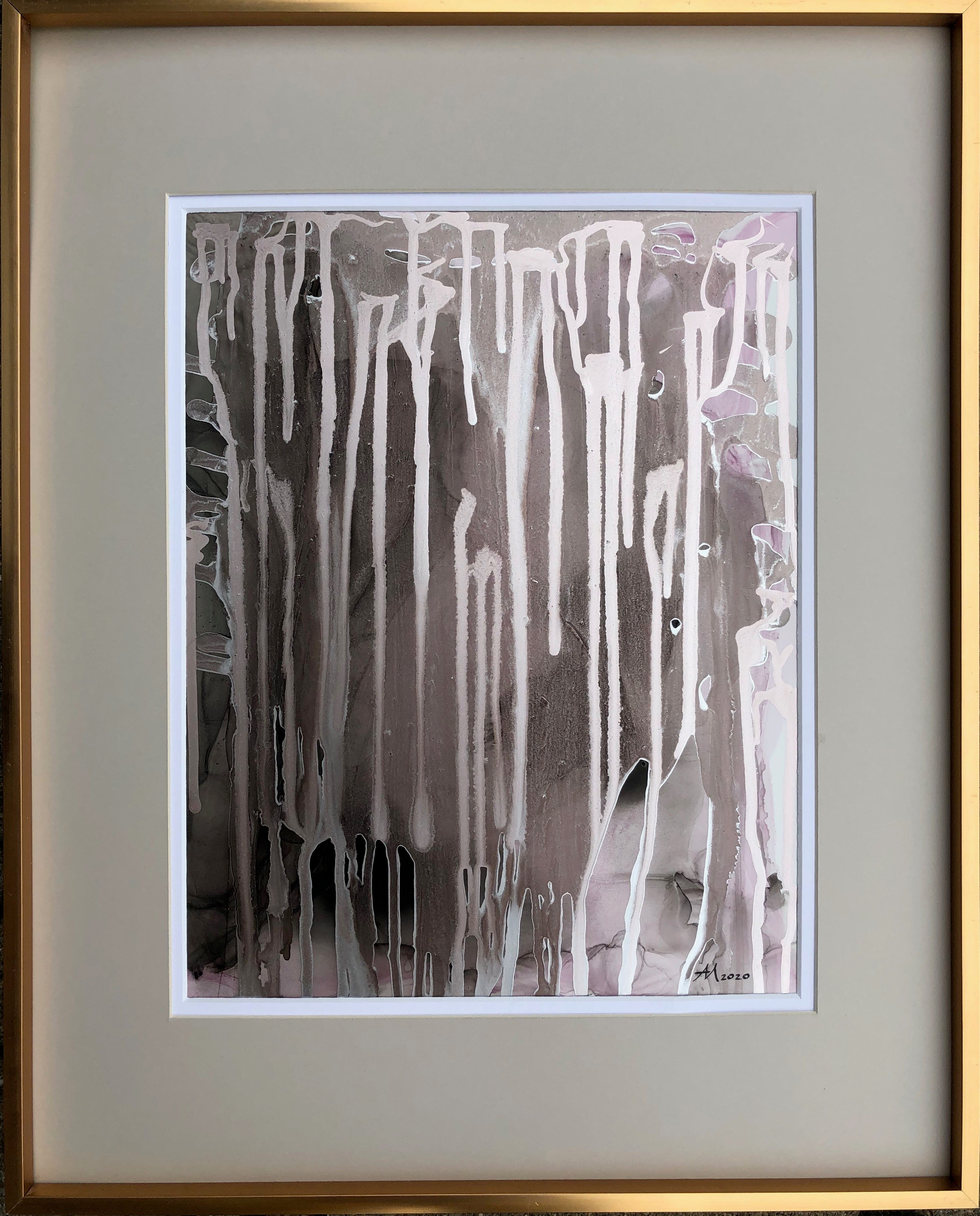 Untitled-abstract painting, made in pale pink, gold-silver, black, brown color