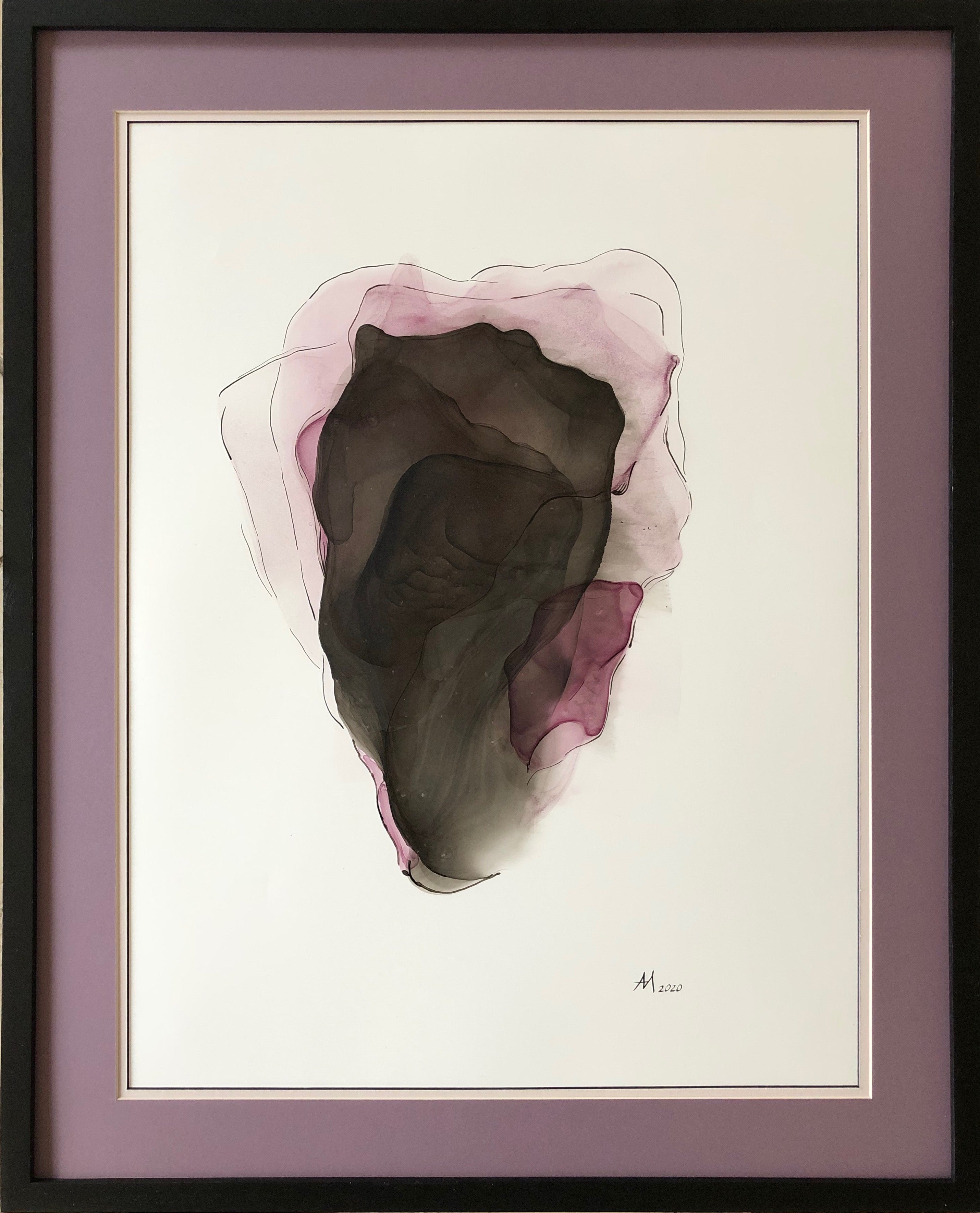 Iris-abstract painting, made in violet, black, beige, pale pink, rose color