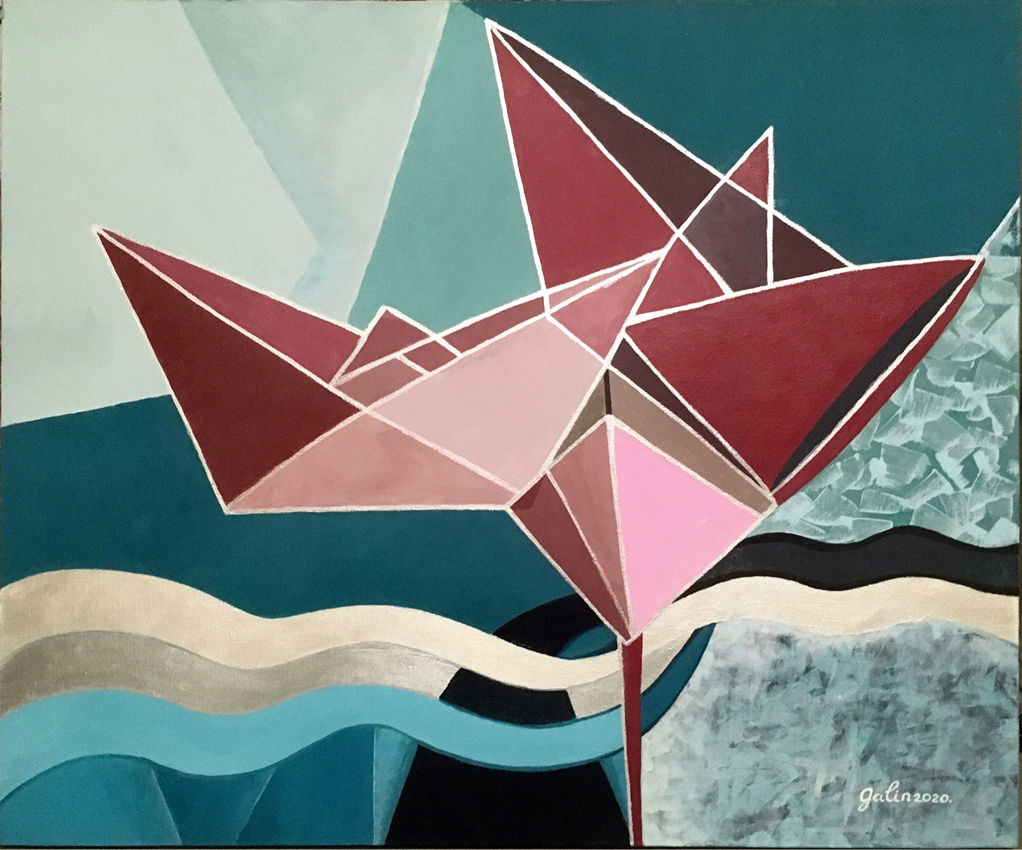 Nostalgia.Origami paper boat-abstract painting,made in pink,turquoise,vine,gold